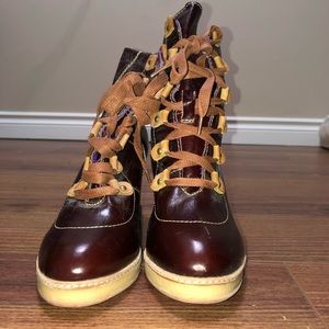 Brown leather booties - never worn
